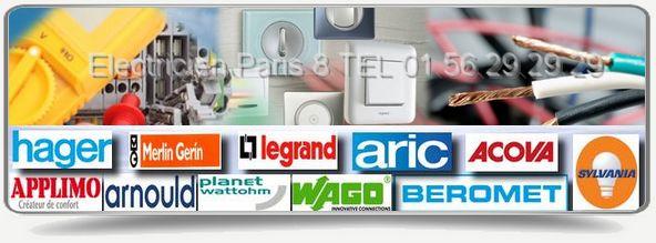 Artisan électricien agree edf, pour tous travaux d'électricité dans Paris 75008 : Agree Legrand, Sylvania, Merlin Gerin, Aric, Hager, Applimo, Arnould
