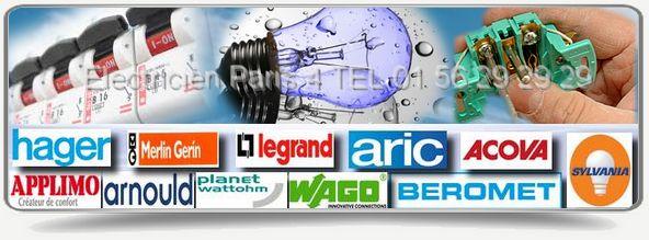 Depannage électriques des marques : Legrand, Planet Watthom, Applimo, Acova, Legrand, Sylvania, Merlin Gerin, Aric, Hager, Applimo, Arnould à Paris 75004